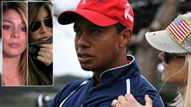 Tiger Woods with his wife Elin Nordegren and inset, Jaimee Grubbs, who says she had an affair with him,  and Rachel Uchitel, who says she didn't.