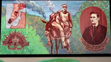 "Mural of Simpson and his donkey at the Dapto Ribbonwood Centre: ""In death, he found a grace he never enjoyed in life,"" says journalist Les Carlyon."