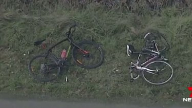 The bikes that two of the three cyclists were riding on Monday morning when they were involved in an accident in Macedon.