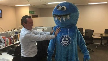 MarK McGowan with the Debt Monster, before copyright issues came back to bite Labor.