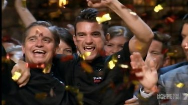 British expats and NSW representatives Will and Steve celebrate winning the grand final of <i>My Kitchen Rules</i>.