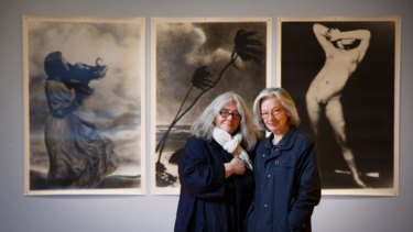 Pat Brassington (right) with ACCA curator Juliana Engberg.