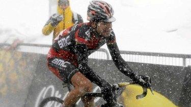 Cadel Evans stuggled on the final climb.