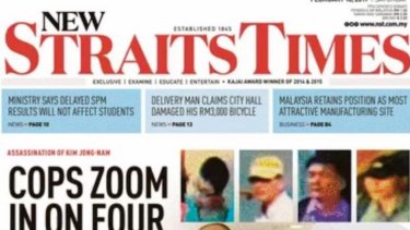 The front page of the New Straits Times showing an image purportedly of Kim Jong-nam moments after the attack.