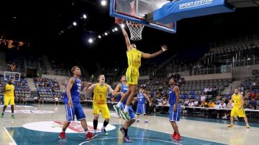 Rising star: Dante Exum drives to the hoop against the Philippines last week.