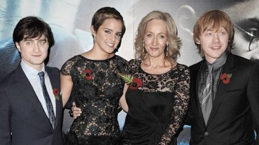"""""""I think I've wrapped his story up"""" … (from left) actors Daniel Radcliffe, Emma Watson, author J.K. Rowling and Rupert Grint attend the London premiere of """"Harry Potter and The Deathly Hallows: Part 1"""" in 2010."""