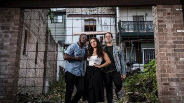 Leads in the musical In the Heights:  (from left) Tim Omaji, Olivia Vasquez and Ryan Gonzalez.