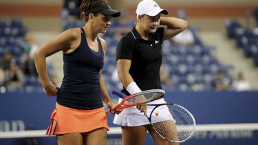 Casey Dellacqua with Ashleigh Barty in the US Open women's doubles final this year.