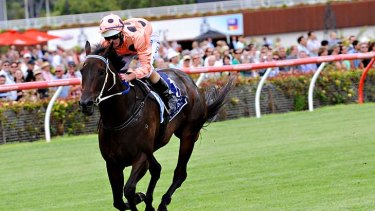 The queen ... Luke Nolen and Black Caviar street the field in the Lightning Stakes at Flemington.