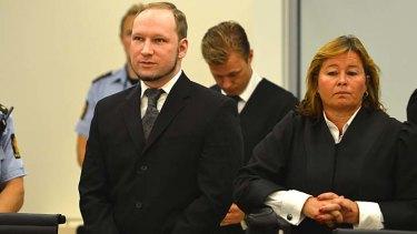 Self-confessed mass murderer Anders Behring Breivik arrives in court.