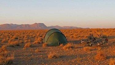 Making camp in the desert in Iran.