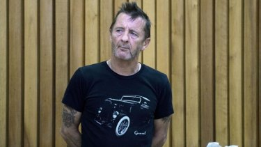 Former AC/DC drummer Phil Rudd in the dock facing charges in the High Court in Tauranga last year.