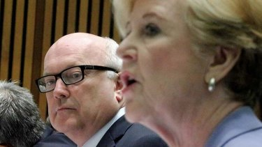 George Brandis and Gillian Triggs at the Senate estimates hearing on Tuesday.
