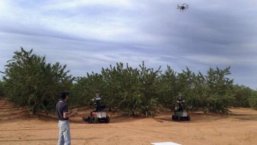 A scientist performs a field test with a 'Hexi-copter' air robot and two ground robots named Mantis and Shrimp.