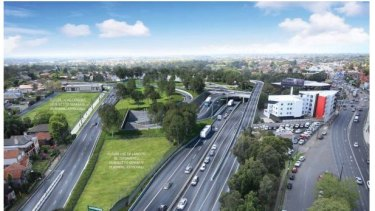 An artist's impression of the modified Concord Road intersection, looking east across the portal entry and exit ramps.