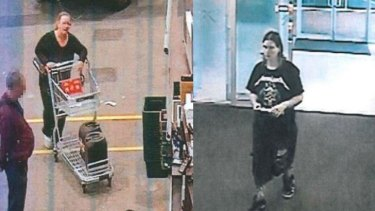 Lenon, left, buying hydrochloric acid from Bunnings. Lilley, right, the day of Mr Pajich's murder.