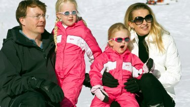 Dutch Prince Johan Friso poses with his wife Mabel and their daughters Countesses Zaria, left, and Luana at the Austrian alpine ski resort of Lech am Arlberg in 2011.