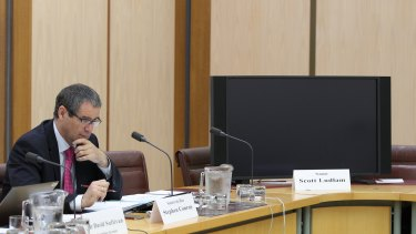 Black screen: Senator Stephen Conroy and the monitor for the failed video link for Senator Scott Ludlam. Senator Lundlam continued to ask questions of NBN Co chief Dr Ziggy Switkowski via phone.