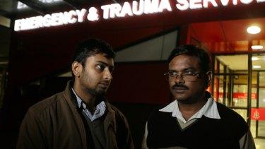 Shravan Kumar's cousin Lakshmi Narafimha, and uncle Srinivasu Therthala visit him at Royal Melbourne Hospital.