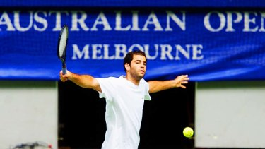 Pete Sampras hits up on centre court at Rod Laver Arena.