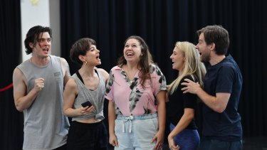 Maxwell Simon (left), Laura Bunting, Natalie Abbott, Jaime Hadwen and  Evan Lever  in rehearsals for Muriel's Wedding the Musical.