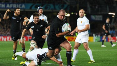 Tony Woodcock scores the opening try for the All Blacks. The host nation won by the barest of margins to claim its second rugby world cup after 24 years.