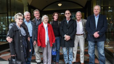 Abuse victims of Francis Cable with family members and other supporters outside the Downing Centre on Thursday.