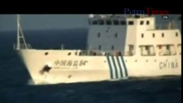 In deep water ... the Chinese boat in a screen grab of the PetroVietnam footage.