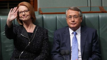 Waving goodbye to the baby boom: Prime Minister Julia Gillard and Treasurer Wayne Swan delivered a budget that slashed the baby bonus.