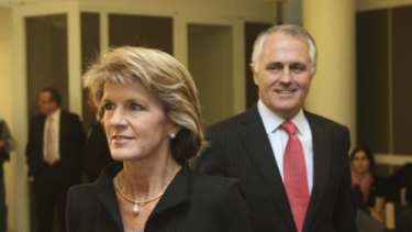 Once were chums...Julie Bishop and Malcolm Turnbull before their growing rift.