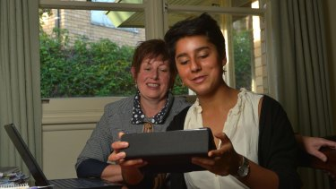 PLC student Sophie Chauhan checks through  Anna Burke's emails as part of her work experience with the federal Labor MP.