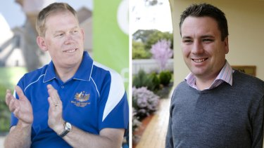 Entitled: National MP Bert van Manen, left, and Liberal Party MP Jamie Briggs, right.