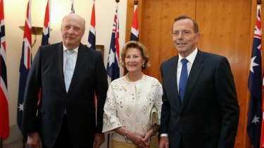 King Harald V And Queen Sonja of Norway meet with Prime Minister Tony Abbott at Parliament House in Canberra on Monday.