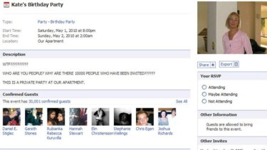 A screen grab from the original Kate's Party Facebook event.