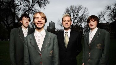 From left: Aaron Davis, Caleb Foster-McLachlan, choir director Andrew Wailes and Scott Davis.