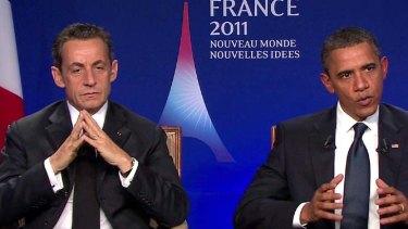 Loose talk … Nicolas Sarkozy and Barack Obama overheard.