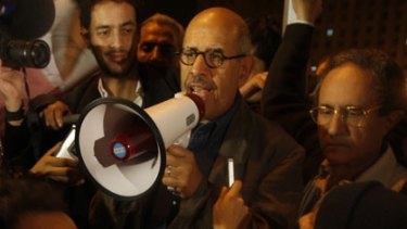 Egyptian Nobel Peace laureate and democracy advocate Mohamed ElBaradei addresses the crowd at Tahrir Square in Cairo on Sunday.
