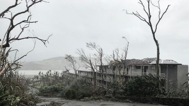 Roofs were stripped bare by the force of Cyclone Debbie at Hamilton Island.