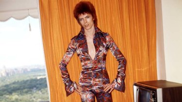 Strutting his stuff … Bowie poses as Ziggy Stardust in a New York hotel room in 1973.