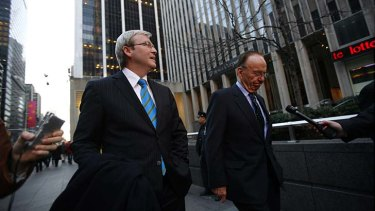 Then opposition leader Kevin Rudd pictured leaving the News Corporation building with Rupert Murdoch after a meeting in April, 2007, in New York. He visited again after being elected prime minister.