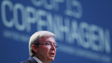 Tipping point ... Kevin Rudd  delivers his speech at the UN Climate Summit in Copenhagen, 2009.
