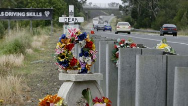 Pic shows a roadside memorial for a victim of the Pacific Highway.