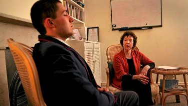 Chilled: Cristian Pagano enjoys a quiet moment with hypnotherapist Julie Phillips-Moore.