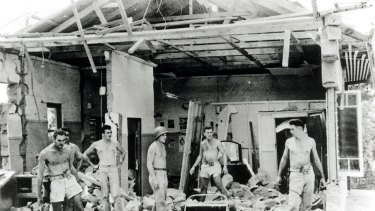 Darwin, 19 February 1942. This bedroom suffered severely when hit by a bomb during the attack on Darwin