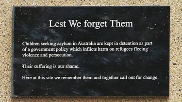 Heartfelt: The unauthorised plaque that has appeared on the wall.