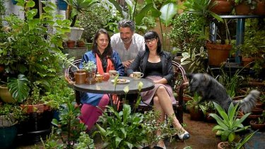 Helen Marcou, Quincy McLean and Mahnya Smith at the courtyard garden.