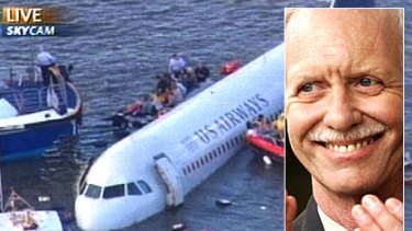 Passengers, crew and rescuers surround a US Airways jetliner after it ditched into the Hudson River. Inset: Pilot Chesley 'Sully' Sullenberger.