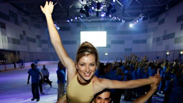 Figure skaters Katherine Firkin and Henri Dupont at the official opening of Icehouse, the new ice skating rink at Docklands.