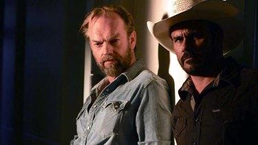 Manhunt: Hugo Weaving and Aaron Pedersen in <em>Mystery Road</em>.