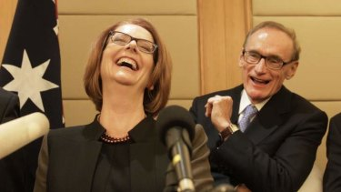 Happier times ... Prime Minister Julia Gillard with Foreign Minister Bob Carr at a press conference in Beijing China on 9 April, 2013.